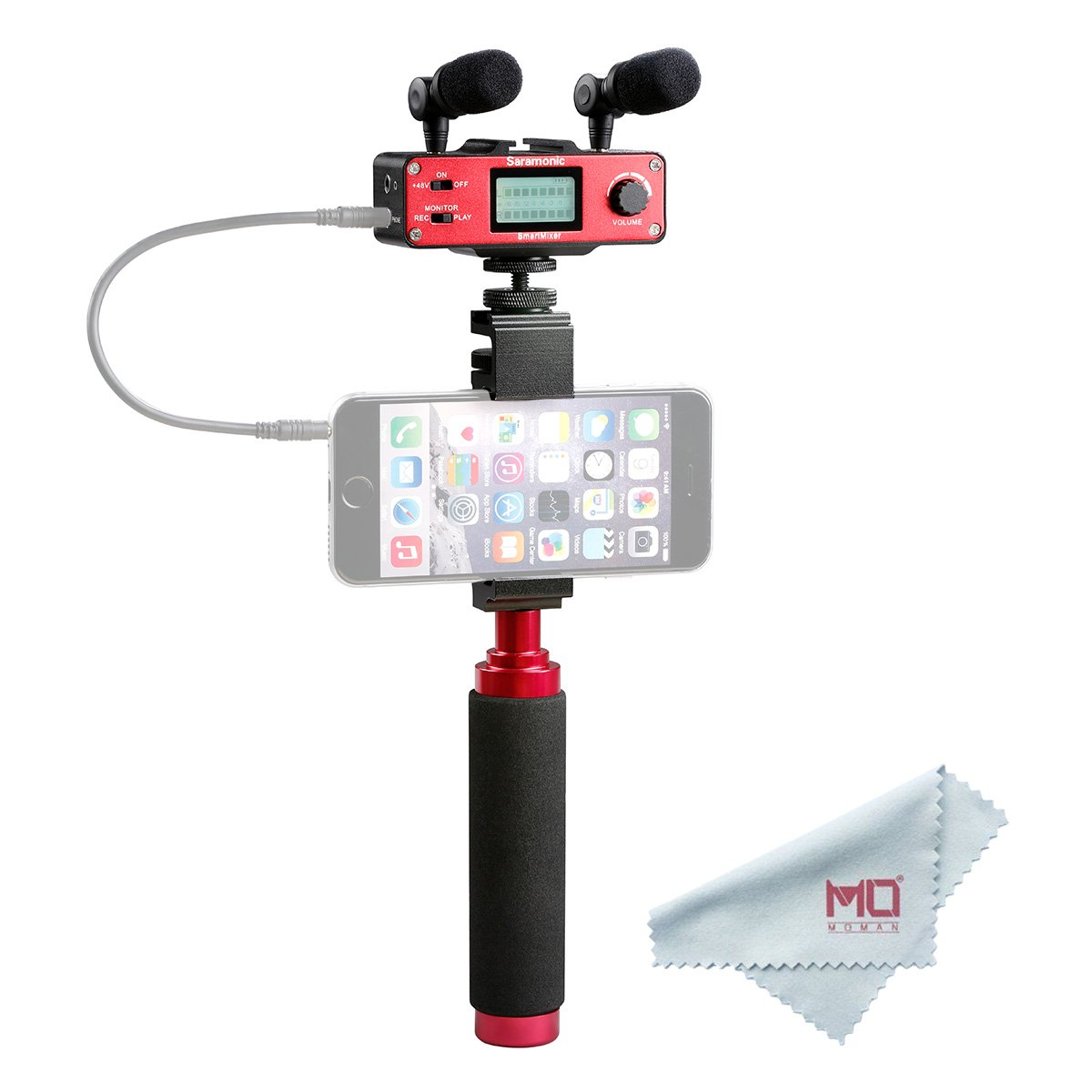 Saramonic SmartMixer professional recording stereo microphone for iPhone and Android Smartphone, with Dual Stereo Mic, Audio Mixer and Stabilizing Rig