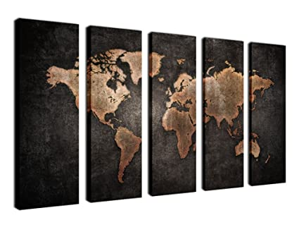 Amazon yearainn canvas prints wall art world map picture print yearainn canvas prints wall art world map picture print on canvas 5 piece canvas art gumiabroncs Image collections