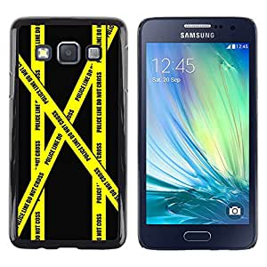 TopCaseStore / la caja del caucho duro de la cubierta de protección de la piel - Don'T Go Police Tape Crime Scene Yellow - Samsung Galaxy A3 SM-A300