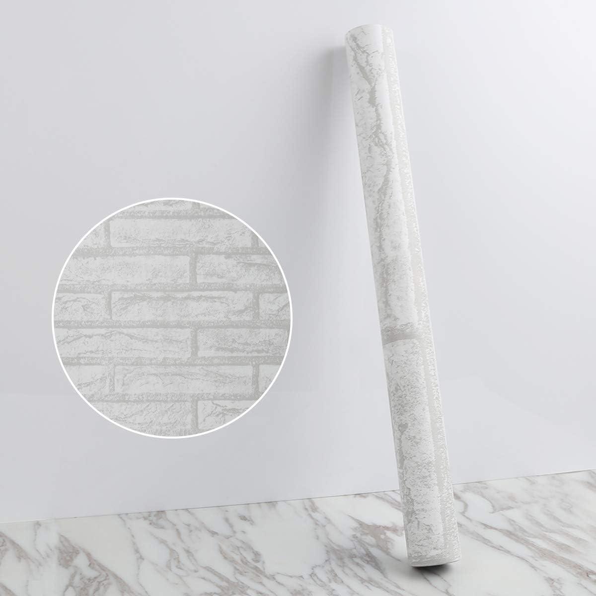 Papier Peint Gris Papier Peint Auto-Adh/ésif Vintage Brick Peel and Stick Fond D/écran Papier de Contact Gris et Blanc Papier Peint Amovible Pour Salon Chambre et Cuisine 44 1000 cm