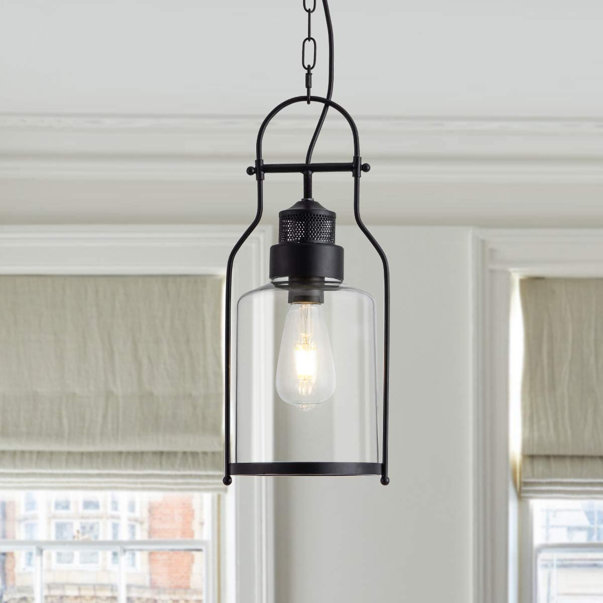 Industrial Pendant Light Glass Shape Hanging Kitchen Island Light with Adjustable Chain Farmhouse Rustic Pendant Lighting Fixture for Dining Room Kitchen Bar