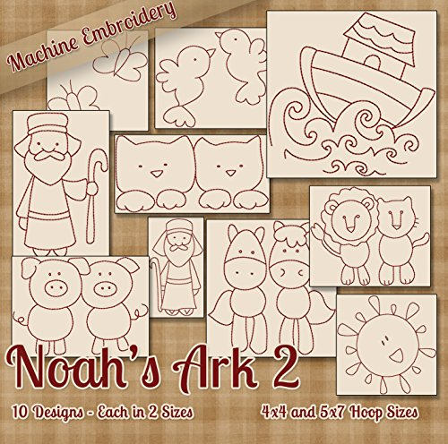 Embroidery Machine Ark Design Noahs - Noah's Ark 2 Redwork Embroidery Machine Designs on CD - 10 Beautiful Patterns - 2 Sizes Each - PES JEF EXP XXX VIP HUS DST