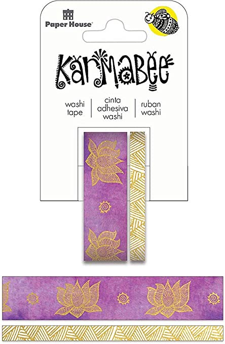 Paper House Productions Carole Shiber Birch Bark Set of 2 Foil Accent Washi Tape Rolls for Scrapbooking and Crafts