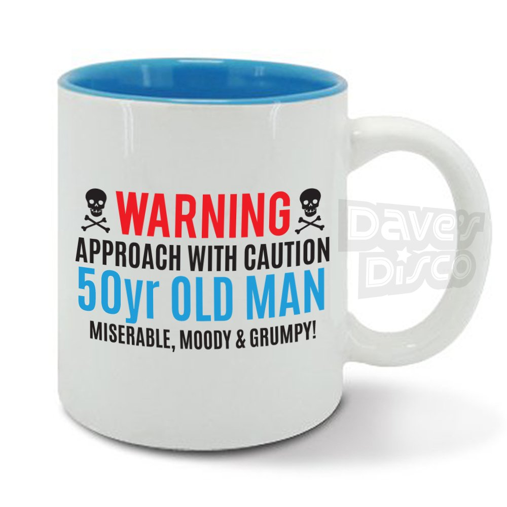 WARNING 50 Year Old Man Miserable Moody And Grumpy 50th Birthday Funny Gift Idea Mens Blue Mug Cup Amazoncouk Kitchen Home