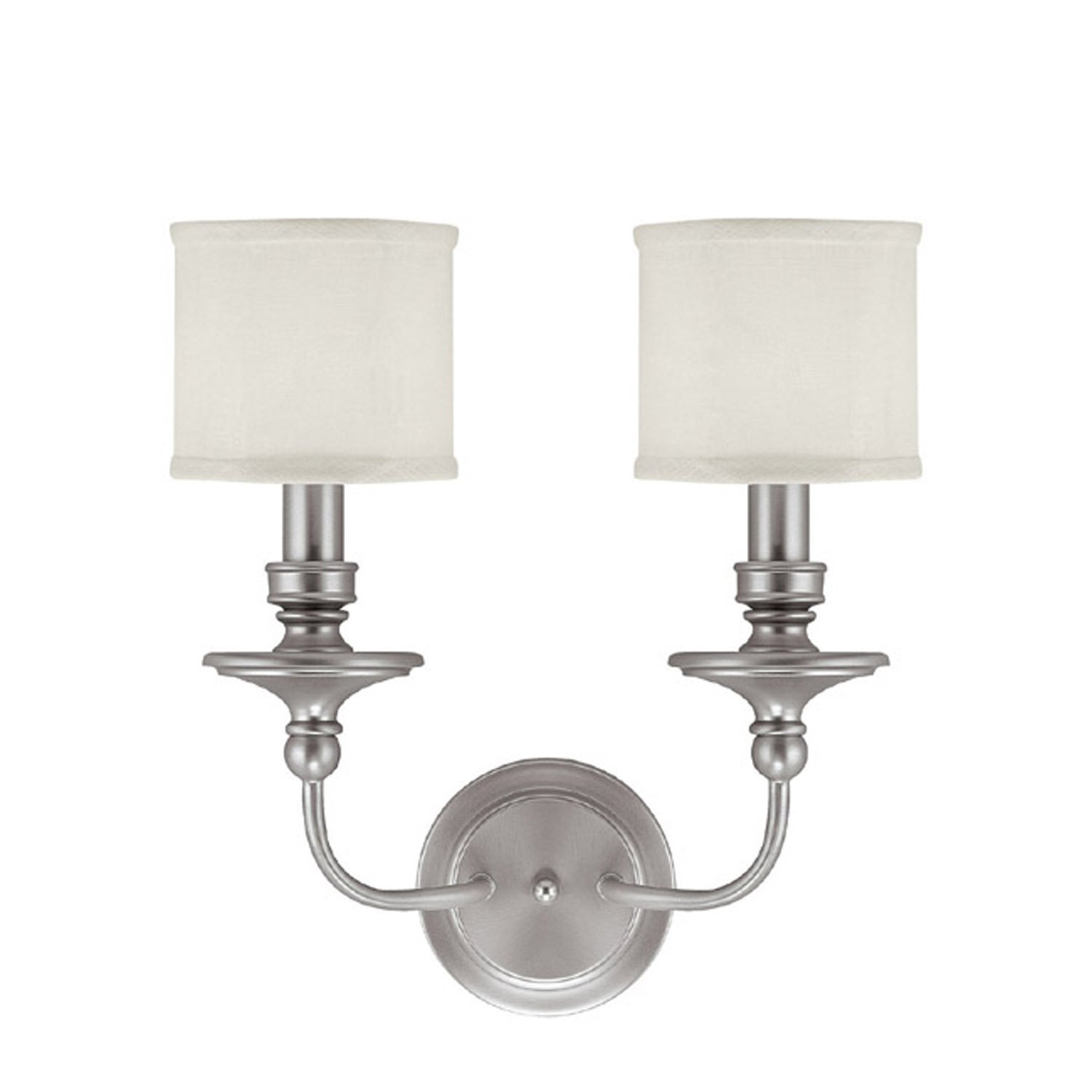 Capital Lighting 1232PN 451 Wall Sconce With White Fabric Shades Polished Nickel Finish