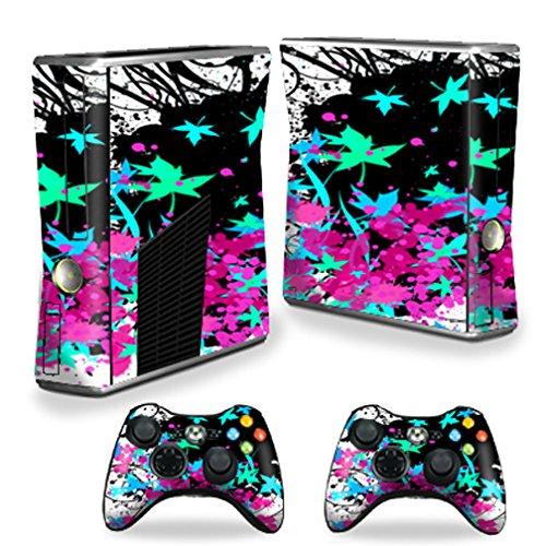 (MightySkins Protective Vinyl Skin Decal Cover for Microsoft Xbox 360 S Slim + 2 Controller skins wrap sticker skins Leaf Splatter)