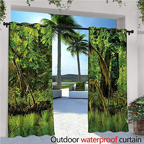 homehot Rainforest Exterior/Outside Curtains Trees with Moss Natural Paradise Silence in The Wild Nature Relaxation Illustration for Patio Light Block Heat Out Water Proof Drape W108 x L96 Green