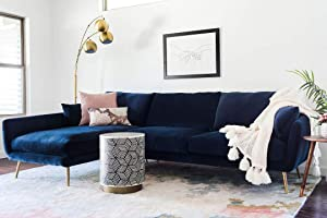 Edloe Finch Modern Sectional Sofa Facing Chaise Cruelty-free Synthetic Feather Cushions, Blue Velvet