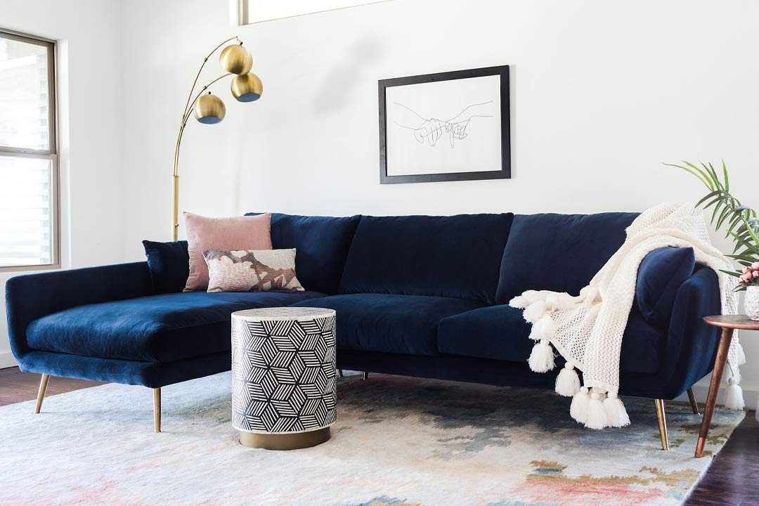 Tremendous Edloe Finch Modern Sectional Sofa Left Facing Chaise Down Down Feather Cushions Blue Velvet Pdpeps Interior Chair Design Pdpepsorg