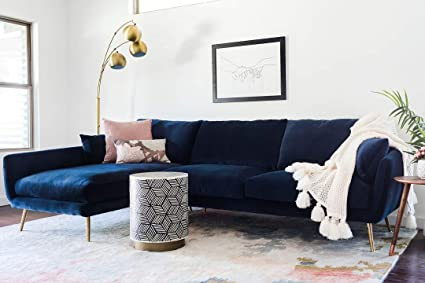Edloe Finch Modern Sectional Sofa Left Facing Chaise Down Down Feather  Cushions, Blue Velvet