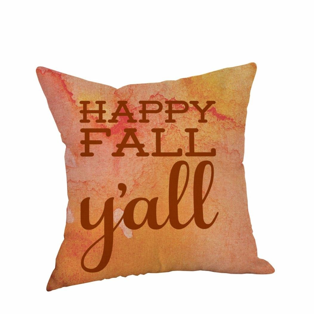 Malbaba Happy Halloween Pillow Covers Cotton Linen Pumpkin Ghosts Sofa Home Decor Throw Pillow Case Cushion Covers Happy Fall Yall 18 X 18 Inch (18''x18'' (Approx 45cm45cm), Pattern M)