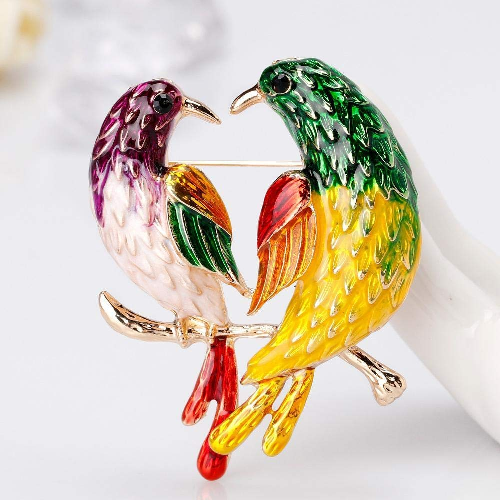 Creative Brooch Pin Brooch European and American fashion two magpies on the branches love bird brooch clothing Accessories Brooch Pin 2-piece set Badge Pin Lapel Pin