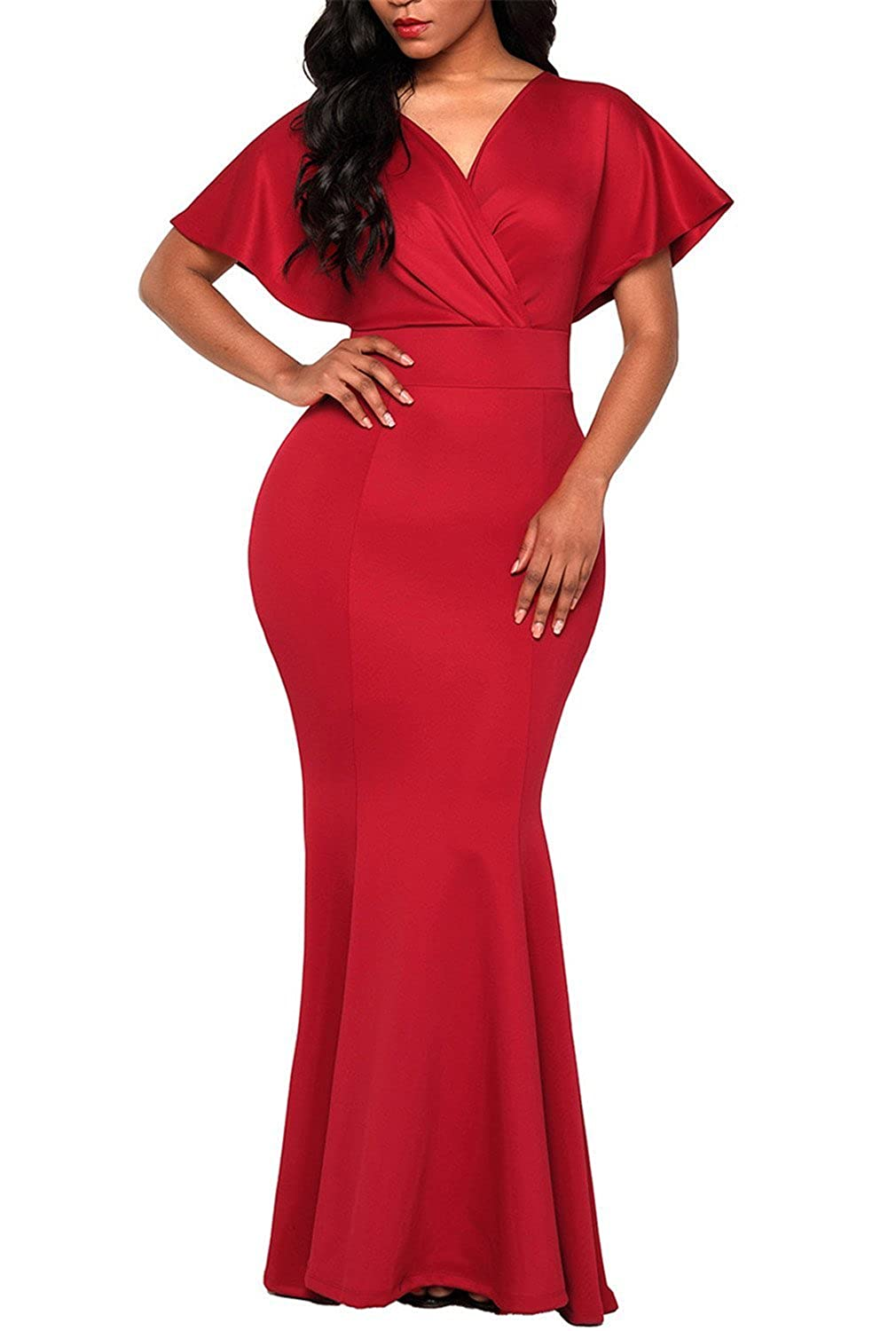 332bc5da9812d Dokotoo Womens Off Shoulder Ruffles Sleeve Gown Mermaid Evening Party Dress  at Amazon Women's Clothing store: