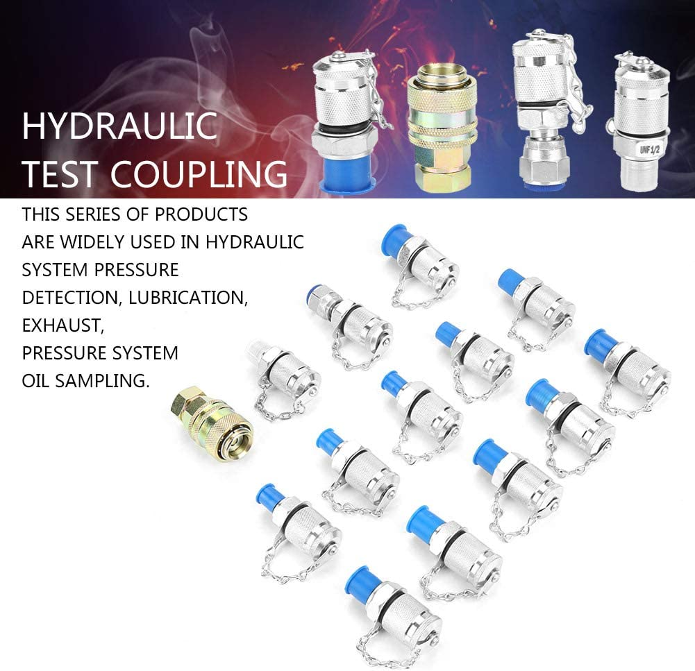 14pcs Hydraulic Pressure Test Point Testing Coupling Adapter Interconnect Test Points Hydraulic Pressure Test Coupling Calibration Products for Hydraulic System
