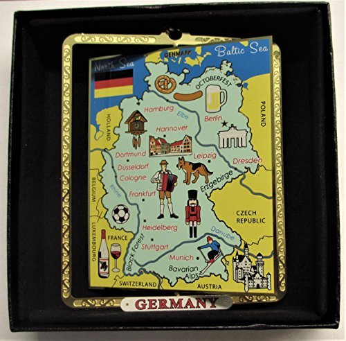 I Love My State Germany Map Ornament Color Brass Black Leatherette Gift Box (Christmas Germany Ornament)