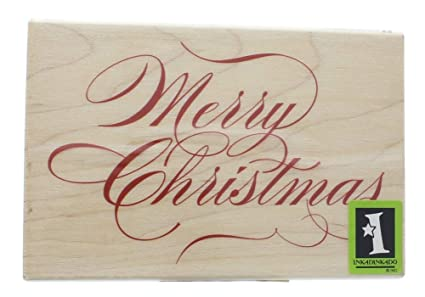Merry Christmas In Cursive.Inkadinkado Merry Christmas Cursive Writing Wooden Rubber Stamp