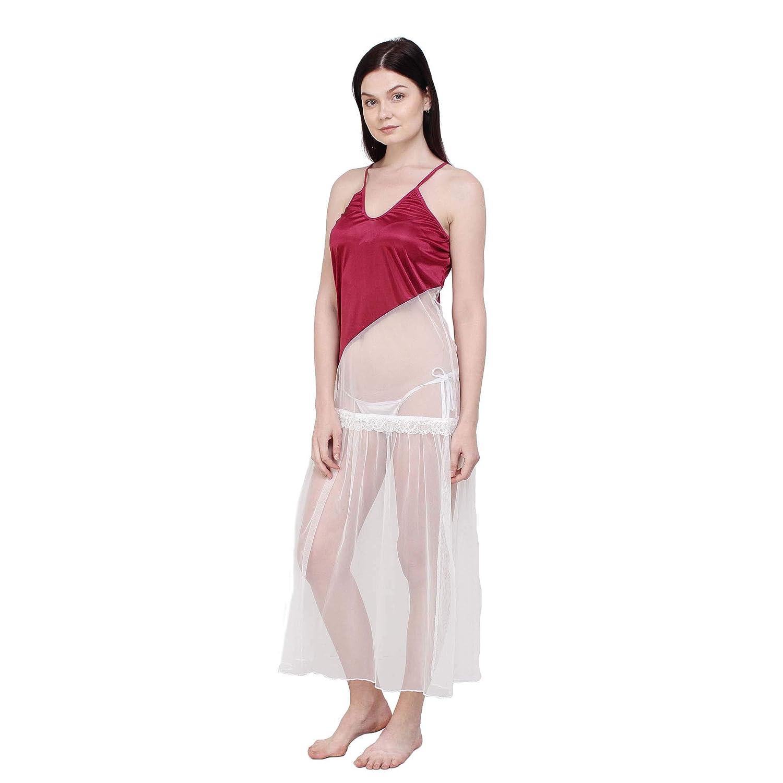 bd37ef1ca8 You Forever Women s Satin Night Dress (YF-D002-BLK-F