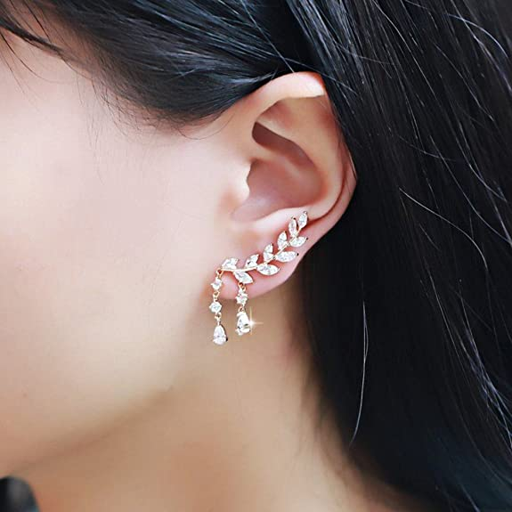 EAR VINES CZ Crystal Leaves Ear Cuffs Climber Earrings Ear Wrap Pins 1 Pair 2CVyFZeZ