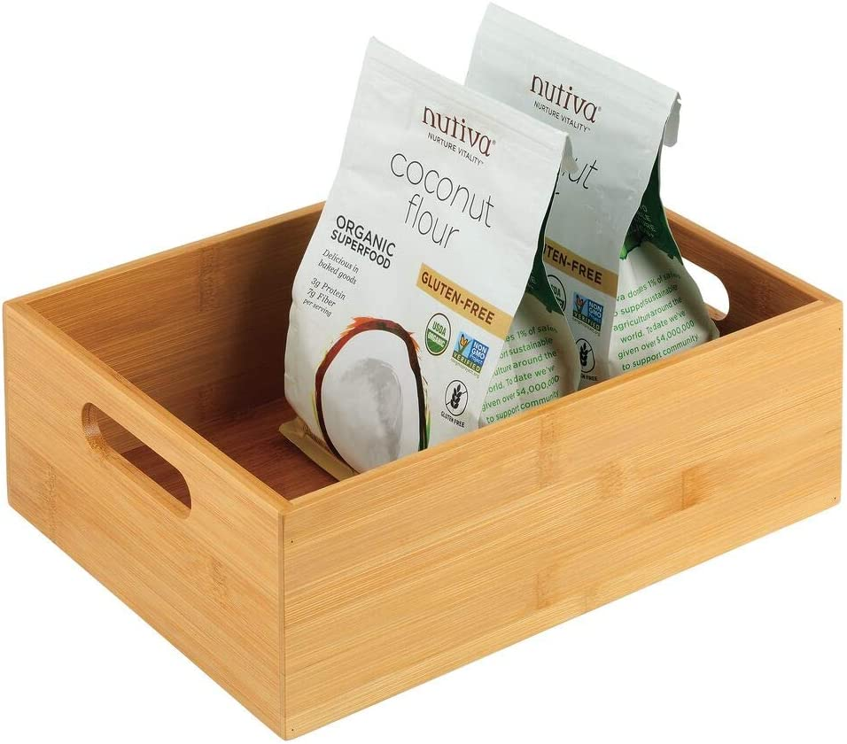 mDesign Bamboo Kitchen Cabinet & Fridge Drawer Organizer Tray with Handle - Storage Bin for Cutlery, Serving Spoons, Cooking Utensils, Gadgets - Natural Wood Finish