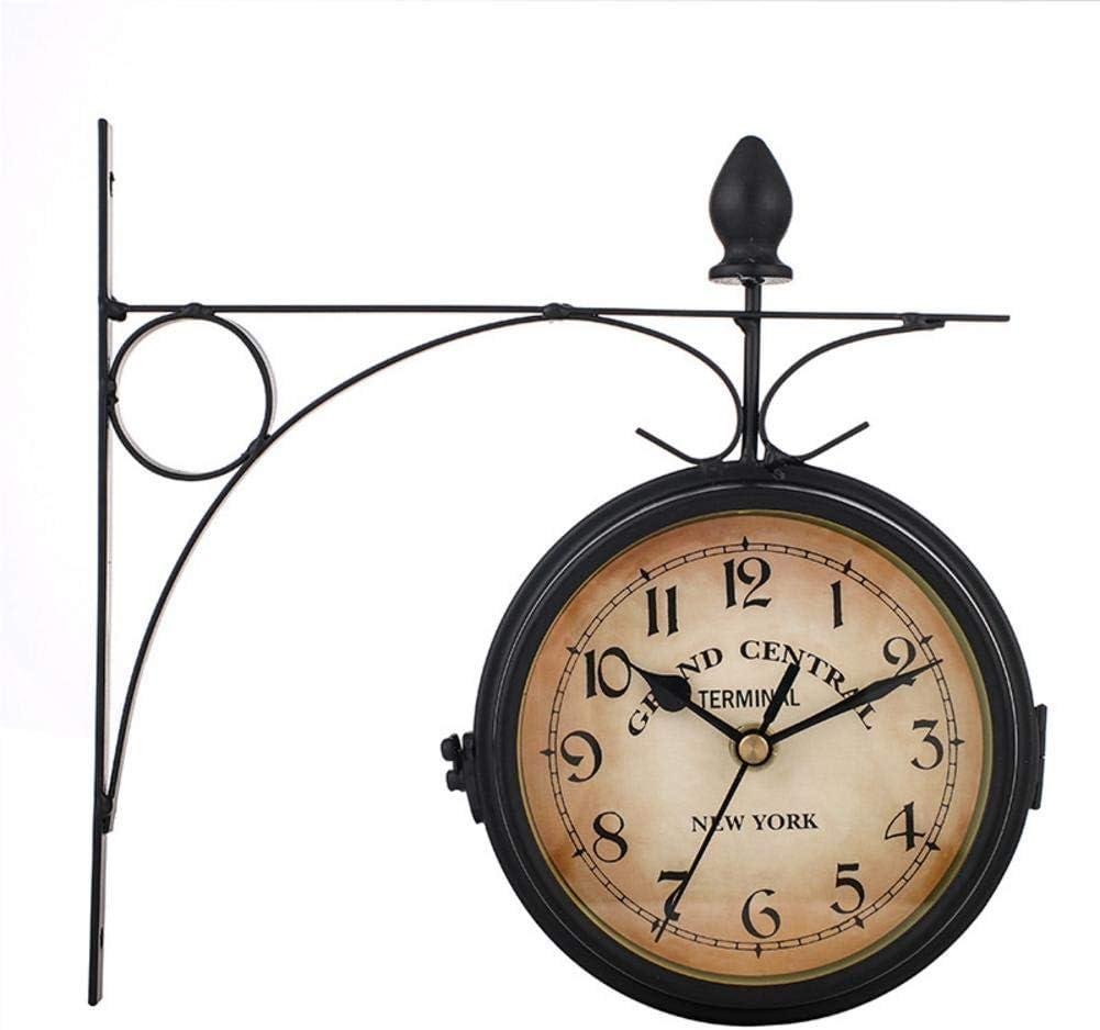 Dough.Q Reloj de Pared Estación de Tren Negro Estilo Vintage Doble Esfera - Hierro Forjado para Interior y terraza