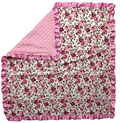 Dear Baby Gear Baby Blankets, Vintage Floral Pink on White, Pink Minky, 32 Inches by 32 - Blankets Satin Floral