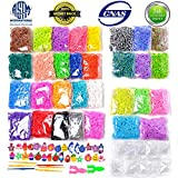 Rainbow Rubber Bands Refill Kit Set Includes 13000+ Loom Bands in 31 Colors + 500 Clips+ 6 Hooks + 30 Charms