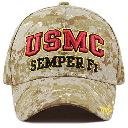 - The Hat Depot 1100 Official Licensed Military 3D Embroidered Logo Cap (USMC)