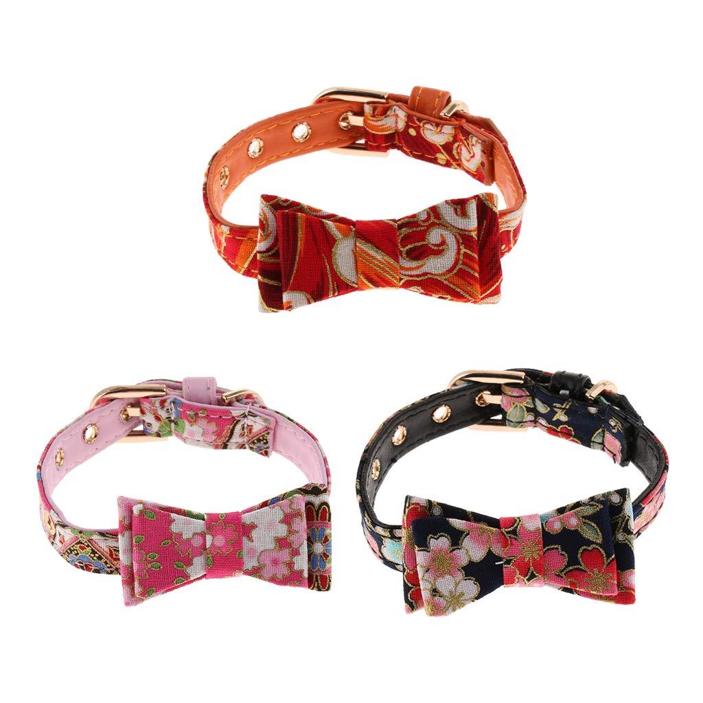 Black Baosity Japanese Kimono Pattern Pet Collar with Bowknot for Pet Cats Kittens Kitties
