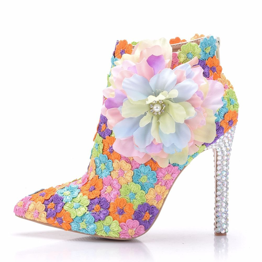 Zapatos de Mujer Flor de Encaje Fino Martin Botas Botas Stiletto Rhinestone Encaje EN Color 38 EU|Camouflage