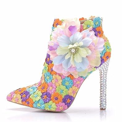 Damenschuhe Strass Perlen Quaste High Heels Feine mit Spitzen Flachen Mund Dünne Schuhe, 40, Weiß LEIT