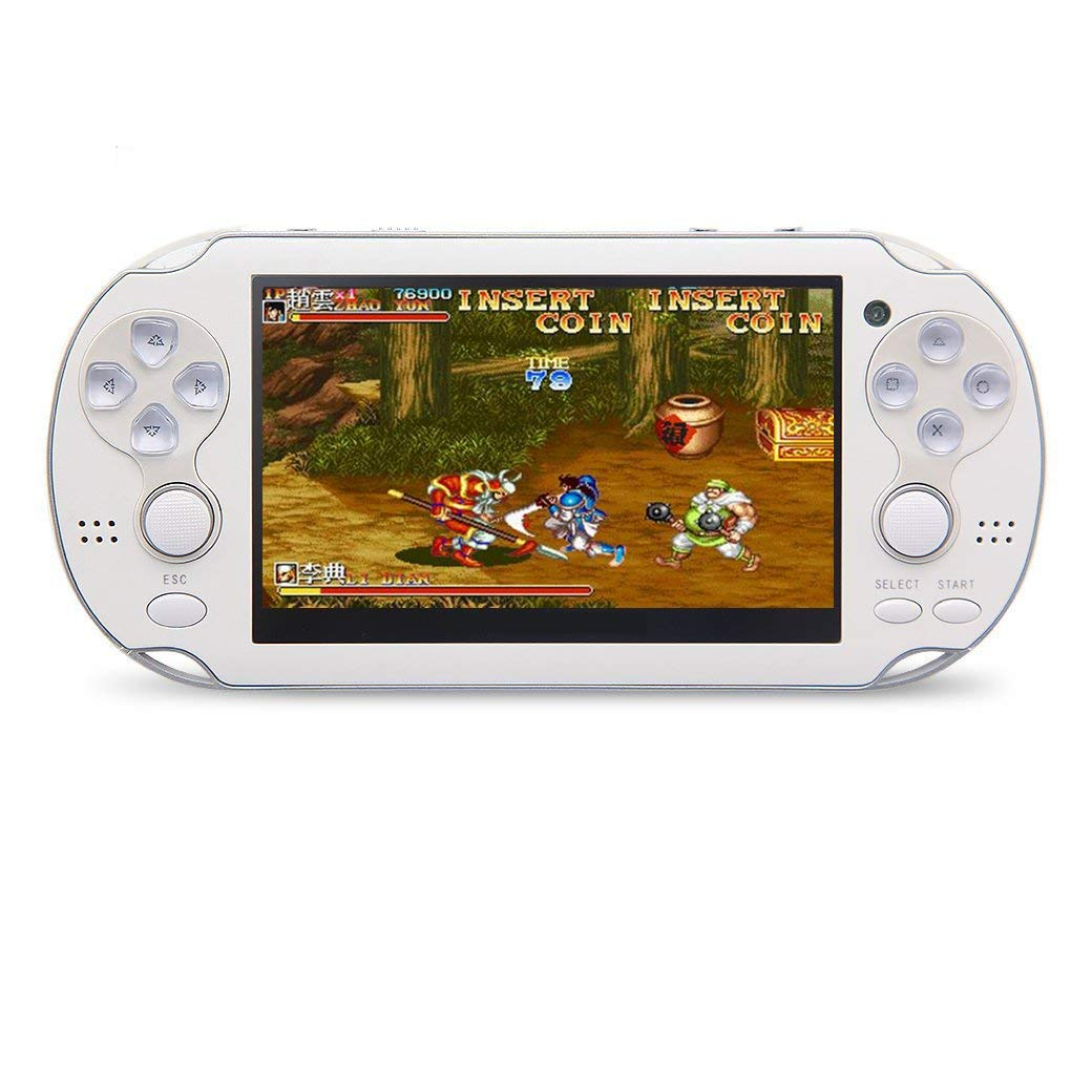 CZT 4.3 inch 8GB Double Joystick Handheld Game Console Build in 1200 Games Video Game Console Support Arcade/neogeo/CPS/FC/SFC/GB/GBC/GBA/SMC/SMD/SEGA Games MP4 Player (White)