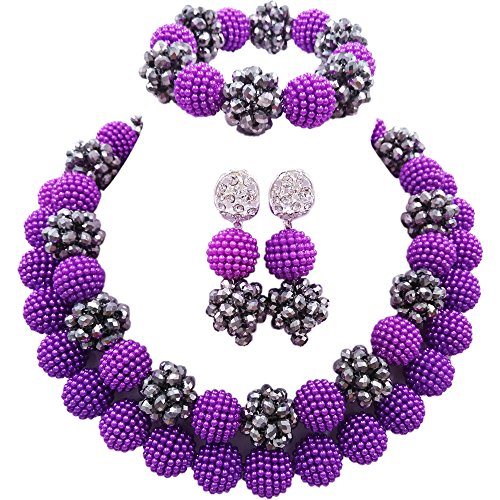 (laanc Women's Gorgeous Beads Necklace, Statement Jewelry, Chunky Necklace, Bubble Necklace A-020A (Purple and Silver))