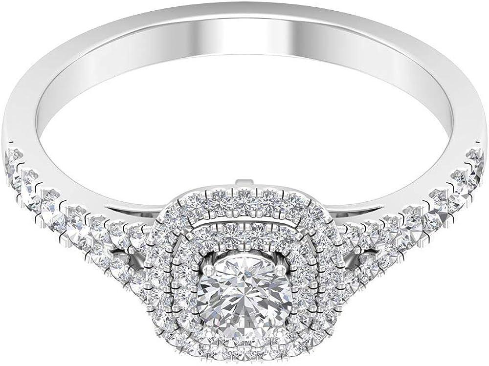 Anillo de boda con diseño de moissanita certificado de 3/4 ct, anillo de doble halo de piedras preciosas antiguas, anillo de oro de vástago dividido, 14K Oro