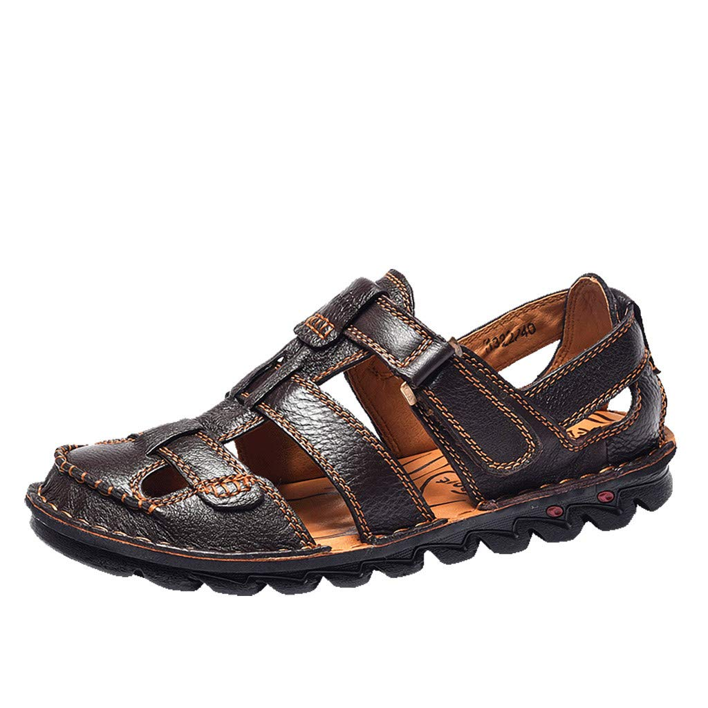 Corriee 2019 Most Wished Men's Summer Shoes Leather Breathable Close-Toe Sandals Soft Bottom Beach Fisherman Slippers Outdoor Brown