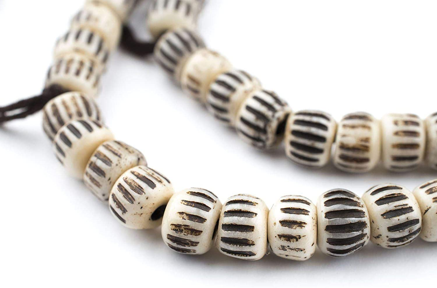 Amazon Com Thebeadchest Cream Vintage Style Carved Chevron Bone Prayer Beads 8mm Nepal Brown Round Large Hole 27 Inch Strand Arts Crafts Sewing