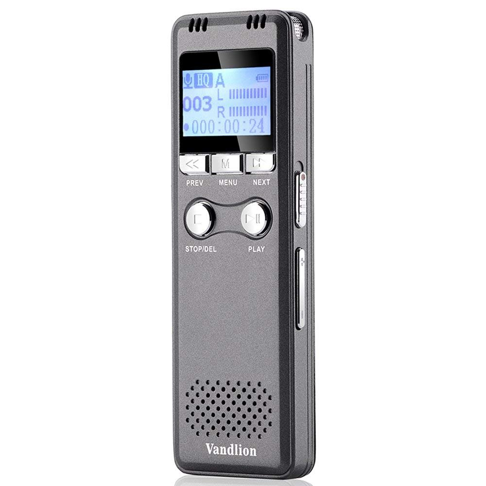 Digital Voice Recorder by Vandlion, 8GB 1600mAh Sound Audio Recorder Dictaphone with MP3 Player, Voice Activated, Double Microphone, Metal Casing