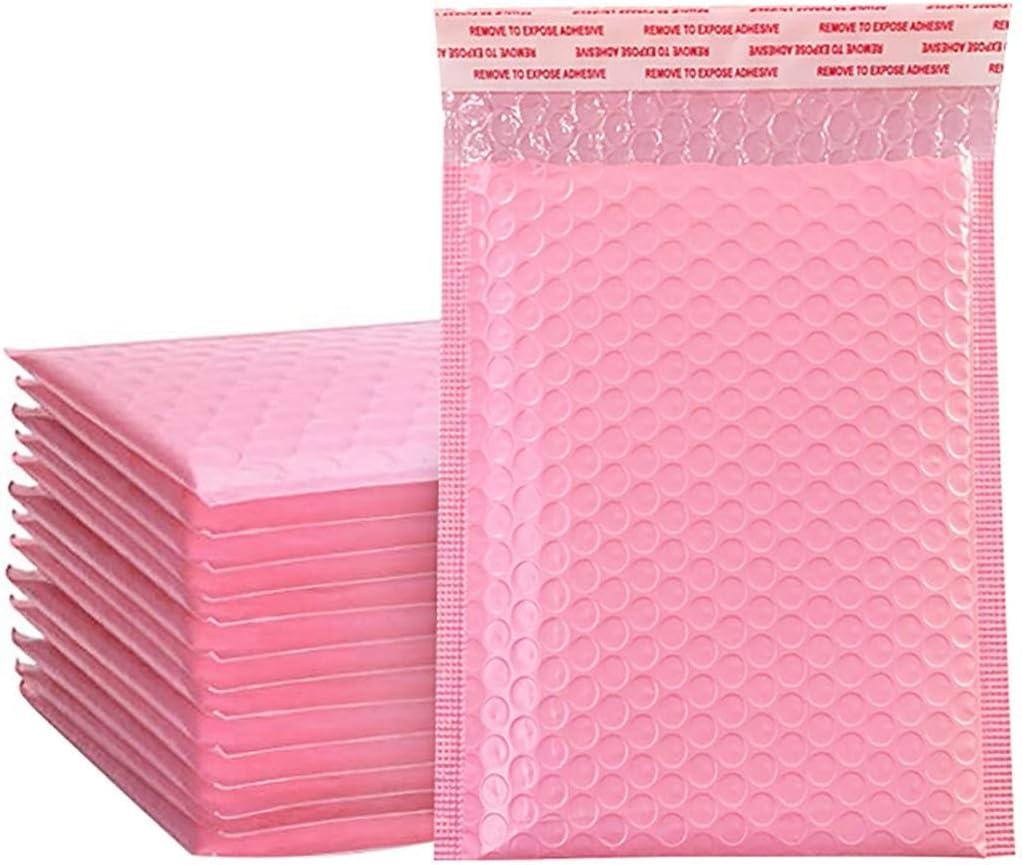 momok 50PCS Bolsas de Sobres de Espuma Sobres Acolchados Autosellados Sobres Acolchados con Bolsa de EnvíO de Burbujas Bolsa de Embalaje Rosa