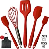 Silicone Kitchen Spatula Utensils 5 Piece Cooking Set With Matching Cotton Apron (25inch x 38inch)