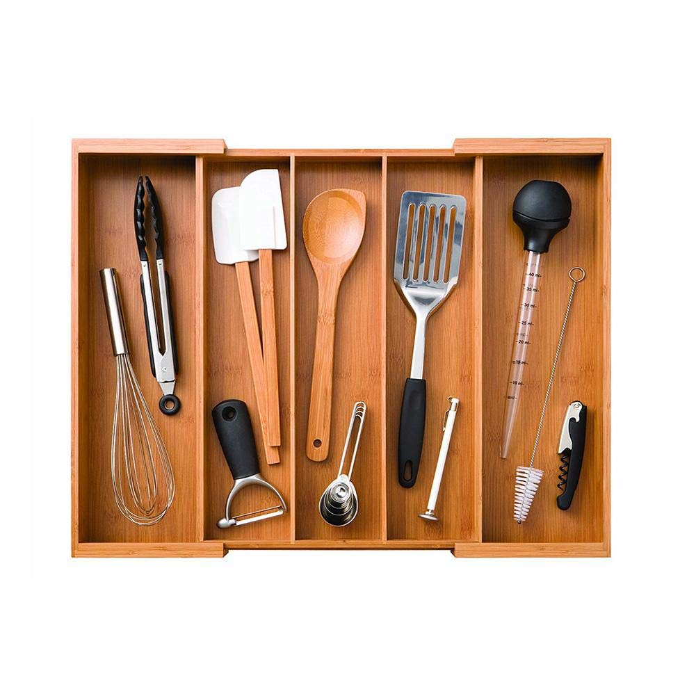 Ivyode Cutlery Tray Wooden Cutlery Utensil Drawer Organizer Bamboo Silverware Organizer Expandable Kitchen Drawer Organizer Cutlery Tray
