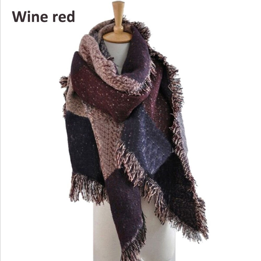Xinnyuan Women Winter Warm Plaid Shawl Female Scarf Cashmere Tassel