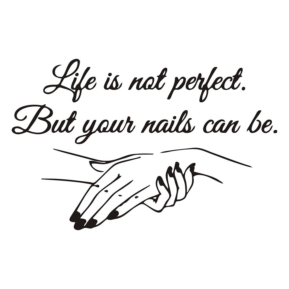 Nail Beauty Salon Wall Sticker for Home Store Decoration Manicure Quotes Wallpaper Wall Art Decal Vinyl Waterproof Stickers WS85 (Black 2)