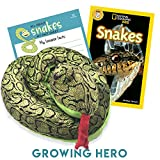 Giant Stuffed Snake & National Geographic Kids Reader Snakes Book Set (Green)