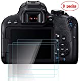 PCTC Optical 9H Tempered Glass Screen Protector Flim for Camera Canon EOS 800D Reble T7i Anti-scrach High Transparency Crystal-clear [3 Pack]