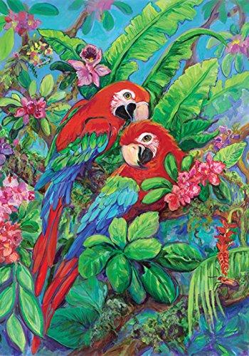 Toland Home Garden Scarlet Macaws 12.5 x 18 Inch Decorative Colorful Tropical Bird Flower Garden Flag