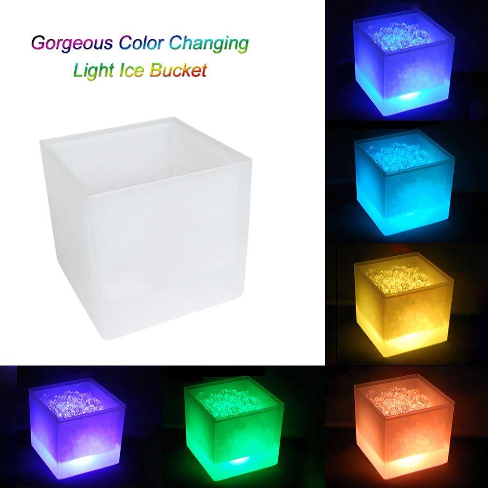 Lixada/3.5L High Capacity LED Light Lamp ICE Bucket Square