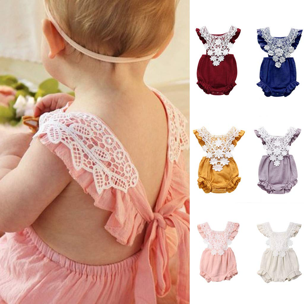 Fatchot Girls Clothing,Newborn Baby Girl Embroideried Ruffled Lattice Bowknot Clothes Bodysuit Romper Jumpsuit Outfit Set