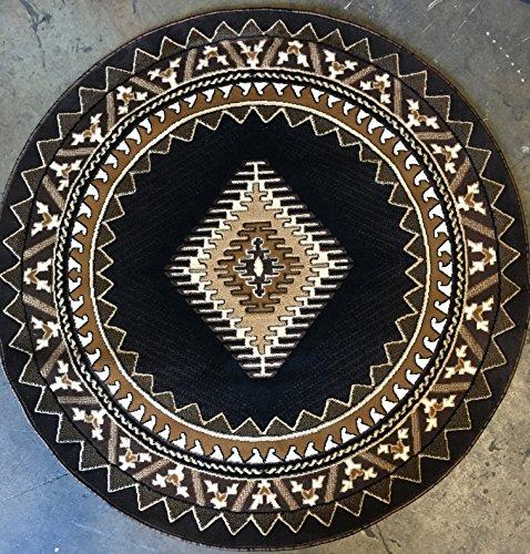 Southwest Native American Indian Round Area Rug Black & Brown Kingdom Design D143 (6 Feet 7 Inch X 6 Feet 7 Inch)