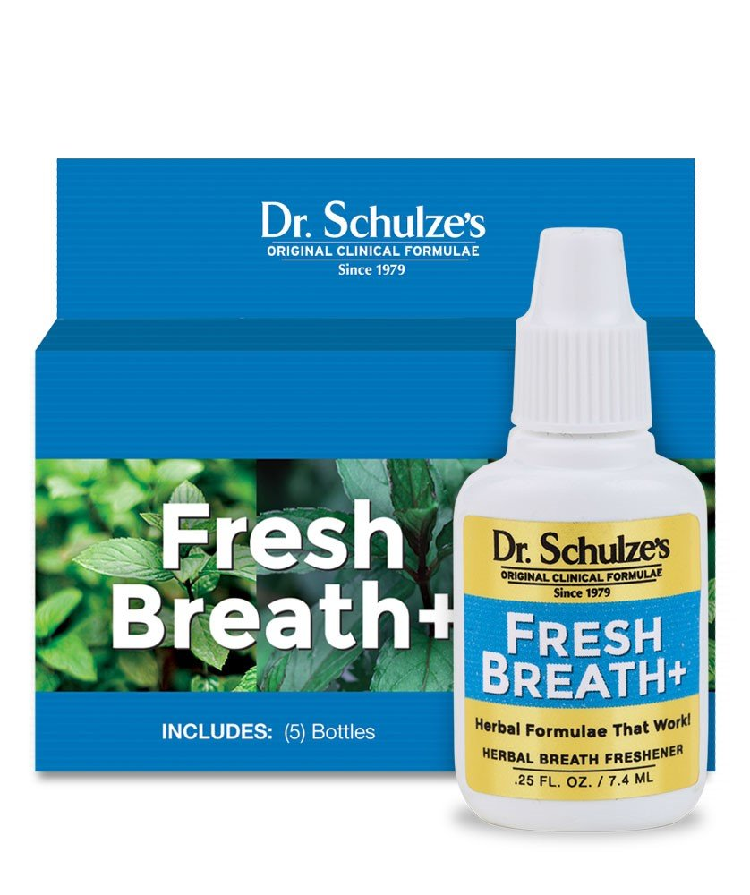 Dr. Schulze's | Fresh Breath Plus | Herbal Formula | Organic Breath Freshener | Peppermint Spirits Concentrate | Eliminates Halitosis & Soothes Stomach | Improves Mouth Care & Oral Hygiene | 5 Pack