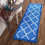 Non-Skid Slip Rubber Back Antibacterial 2x5 ( 1'8' x 5' ) Door Mat Runner Rug Dallas Moroccan Trellis Blue Modern Geometric Lattice Thin Low Pile Machine Washable Indoor Outdoor Kitchen Entry