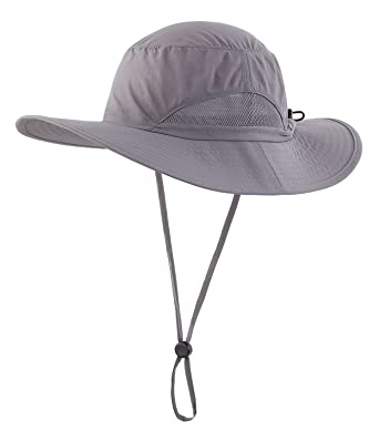 b4637643c0a Decentron Daily Outdoor Sun Cap Fishing Hat Camouflage Bucket Mesh Boonie  Hat with String Dark Gray
